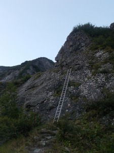 Das erste Hindernis - die Leiter.