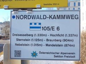 Grober Verlauf des Nordwaldkammwegs.