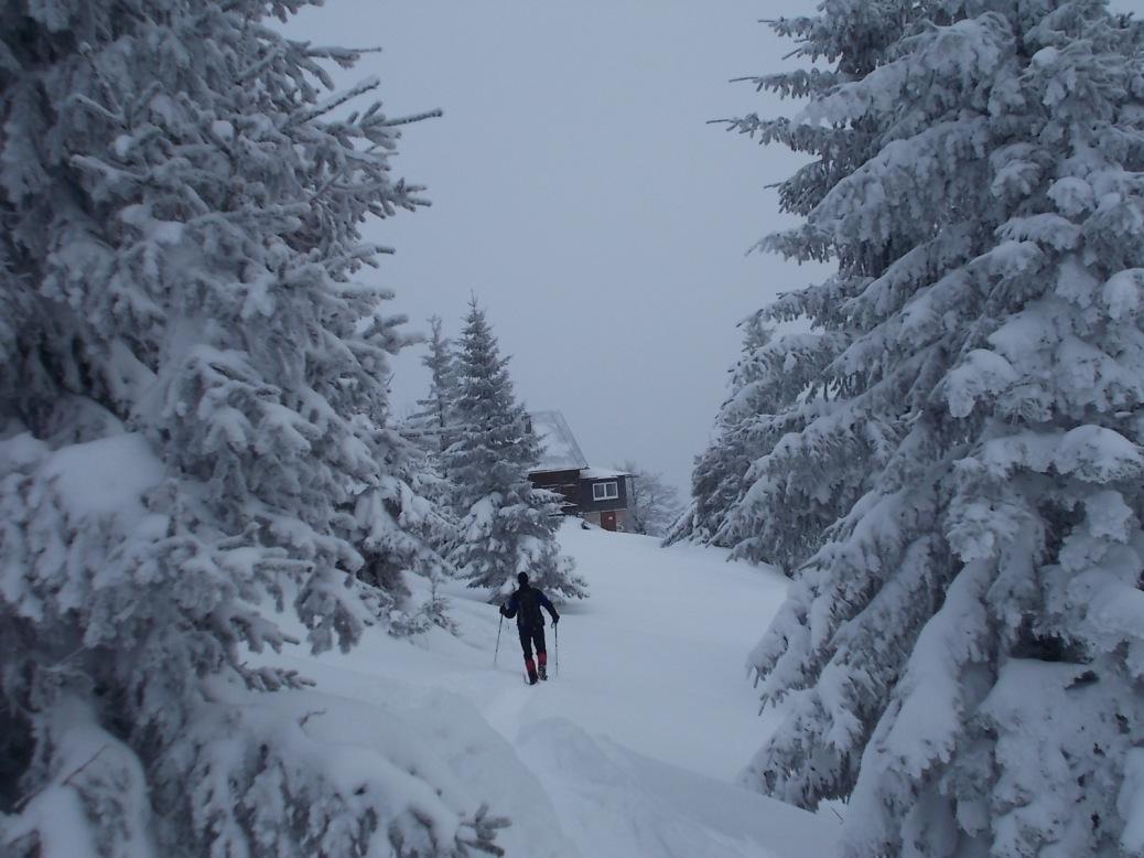 Vom Gipfel retour zur Hütte.